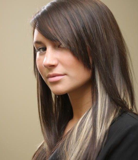 Dark Brown Hair with Blonde Highlights Underneath