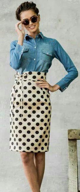 Falda larga estilo lapiz y la mezclilla :)