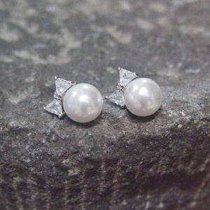 White Gold Bridal Jewelry Wedding CZ Bow Pearl Earrings by infinitisilver