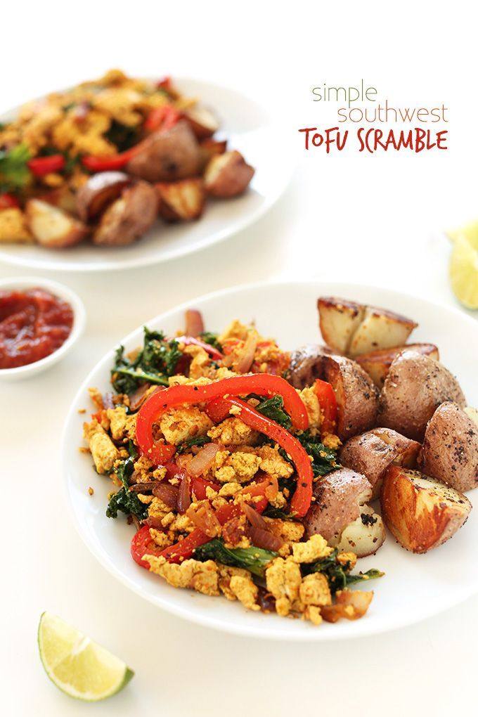 SIMPLE Southwest Tofu Scramble! Kale, red peppers and onion with tofu in a smoky, savory sauce | 10 ingredients