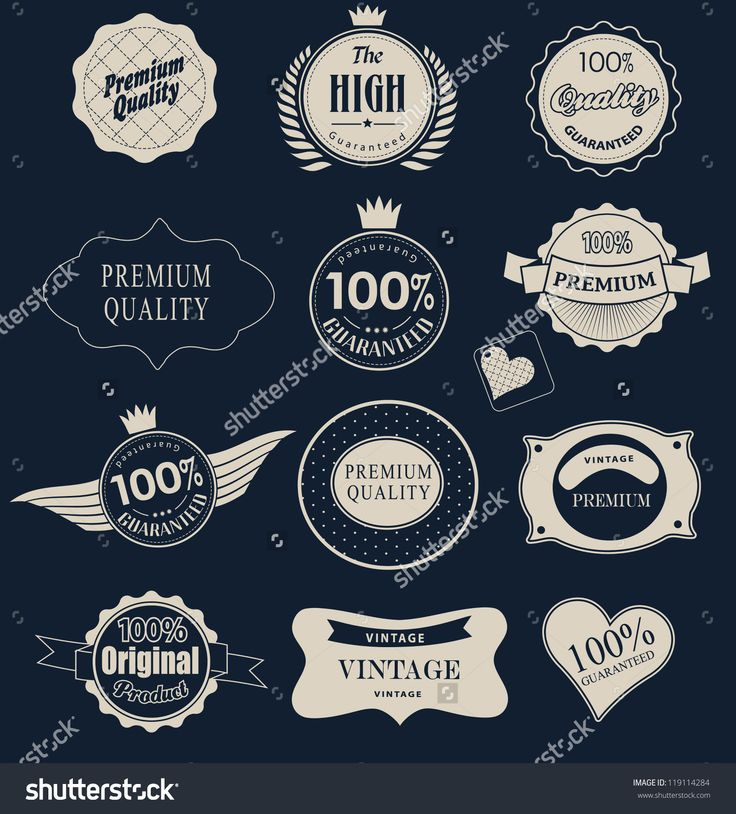 Set Of Retro Vintage Labels And Ribbons. Vector Illustration. - 119114284 : Shutterstock