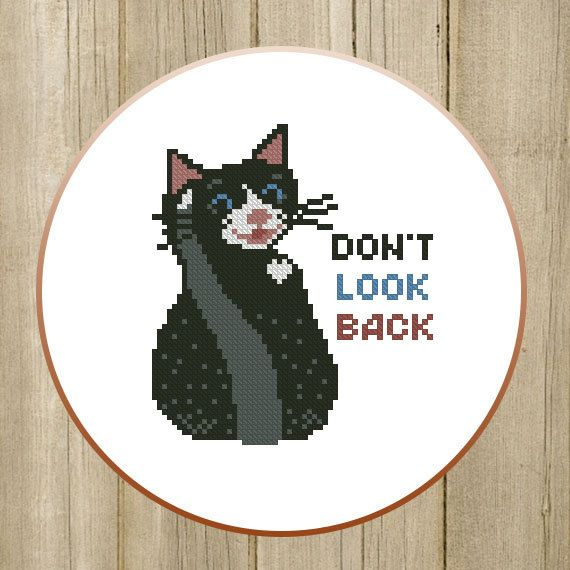 PDF. Don't look back. Cross stitch pattern modern by SecretFriends