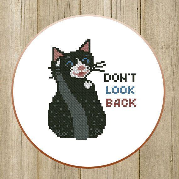 PDF. Don't look back. Cross stitch pattern modern by SecretFriends