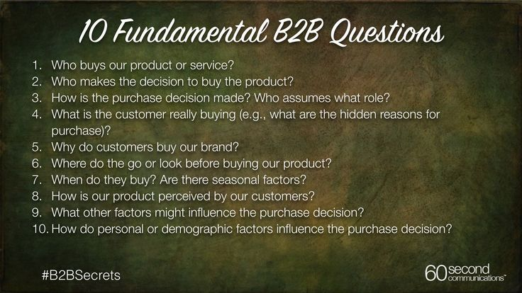 Here are 10 questions every B2B marketer should use to lay the foundation for a successful campaign.