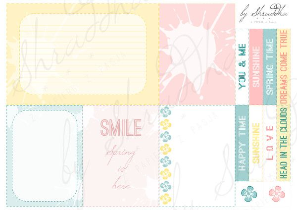 project life cards printable journal cards hello spring shabby pastel karty do journalingu project life i notatek freebies by Shraddha