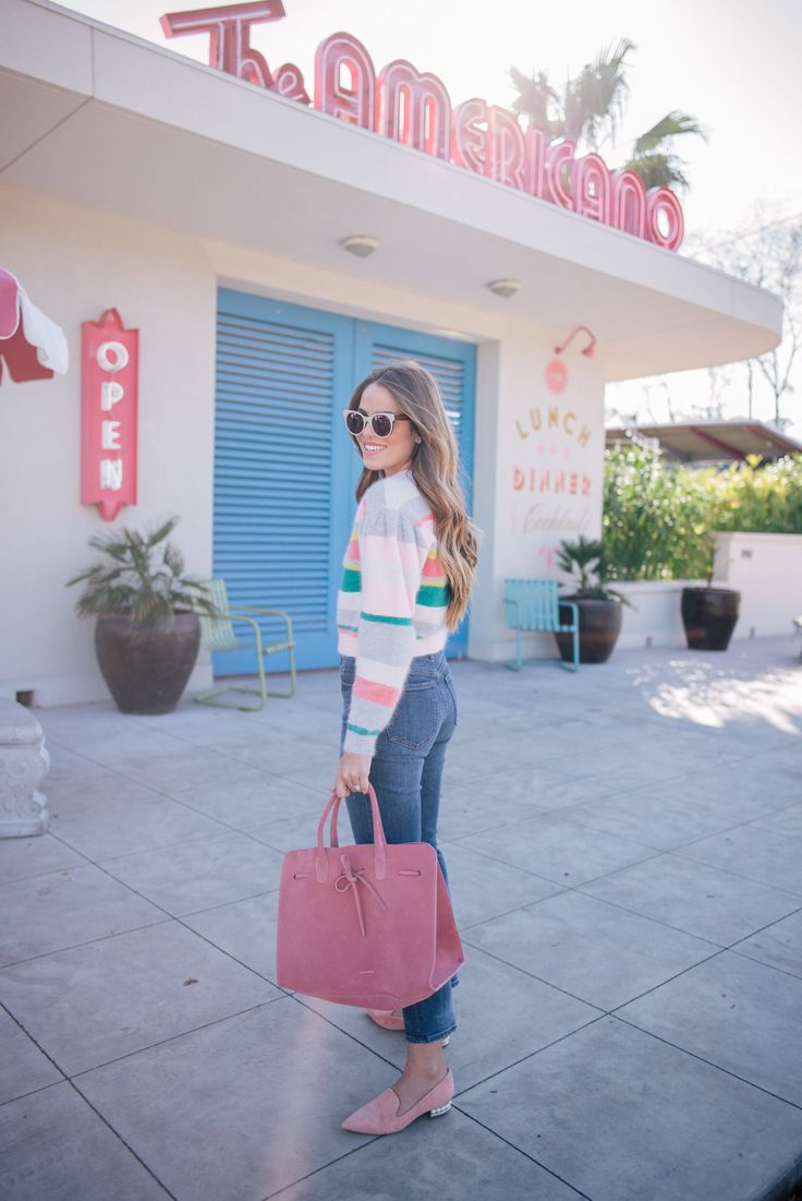 Gal Meets Glam Winter Brights -Striped sweater, J.Crew jeans, Nicholas Kirkwood flats, Mansur Gavriel bag & ZanZan sunglasses