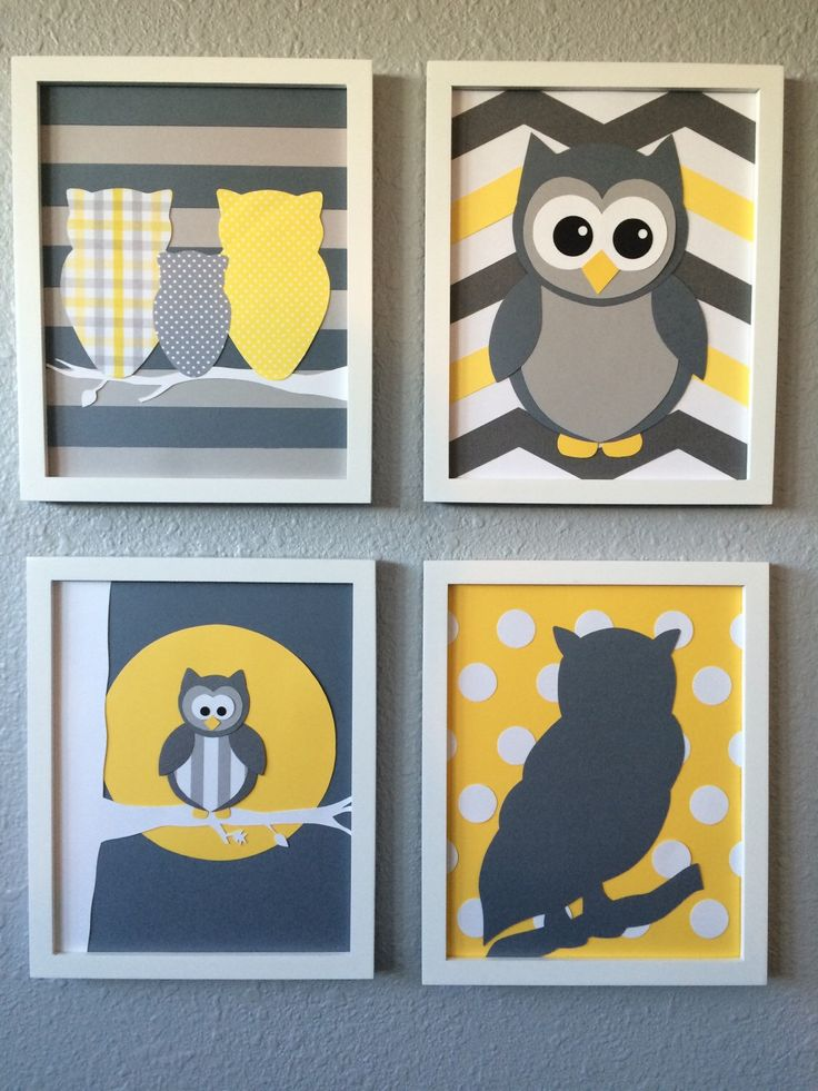 A personal favorite from my Etsy shop https://www.etsy.com/listing/255325579/owl-nursery-art-yellow-grey-gray-framed