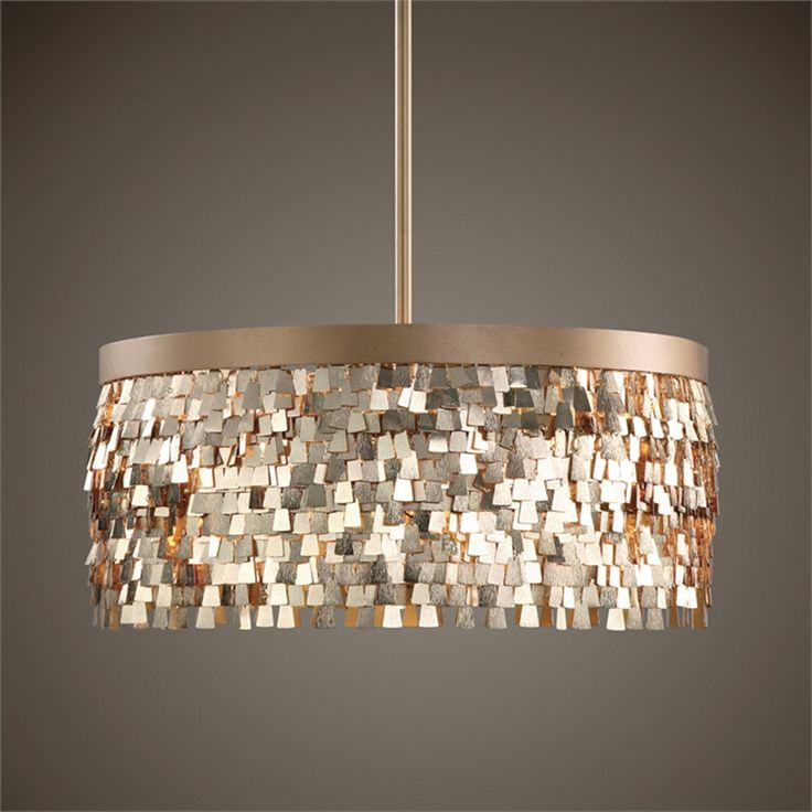 Textured Scales Chandelier — Gold
