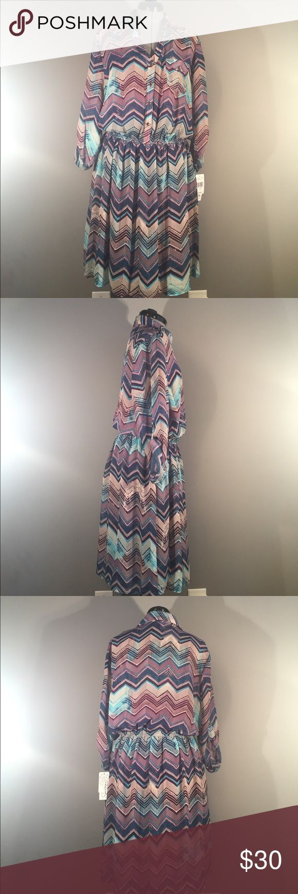 NWT! Speechless plus size chevron print dress - 1X NWT! Plus size, purple and teal chevron print, fully lined, 3/4 sleeve, button front dress by Speechless. Perfect condition. Size 1X Speechless Dresses