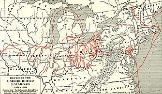 The Underground Railroad was a network of secret routes and safe houses used by 19th-century black slaves in the United States to escape to free states and Canada with the aid of abolitionists and allies who were sympathetic to their cause.[2] The term is also applied to the abolitionists, both black and white, free and enslaved, who aided the fugitives.[3] Various other routes led to Mexico or overseas.[