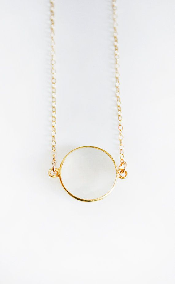 White Moonstone Coin Necklace by keijewelry on Etsy, $40.00