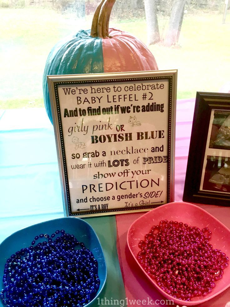 Gender Reveal Party Ideas http://1thing1week.com