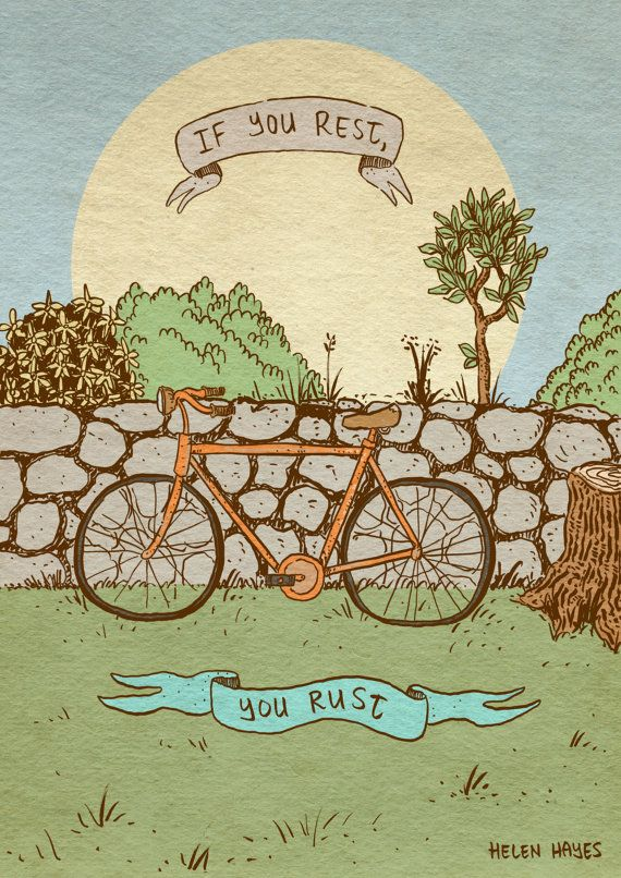 Bicycle quote art print  recycled paper by MikeMedaglia on Etsy