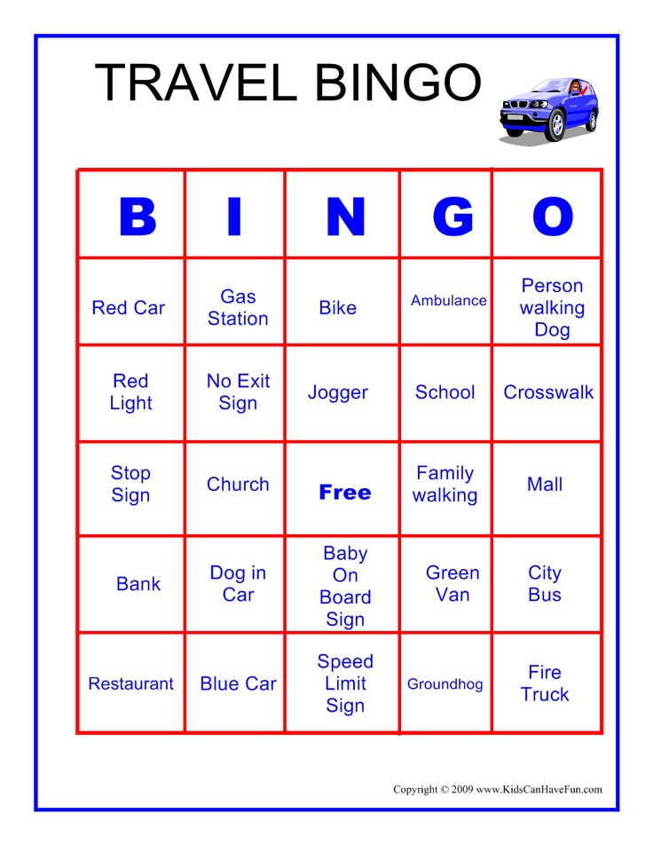 This is a graphic of Exceptional Travel Bingo Game