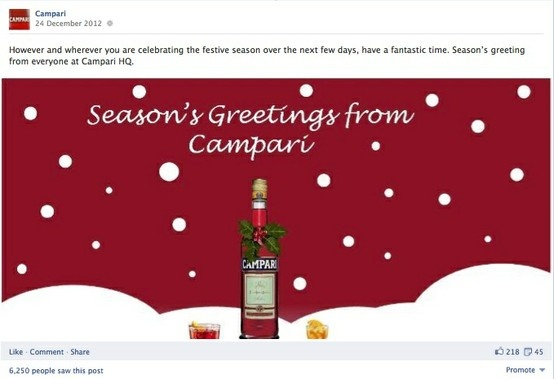 Campari global Facebook page. Christmas content.