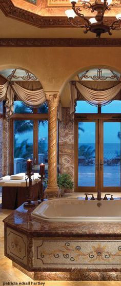 Luxurious bath with a view.