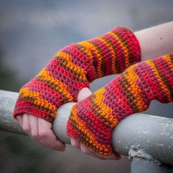Red Orange Brown Fingerless Gloves / Autumn Colour by RUKAMIshop