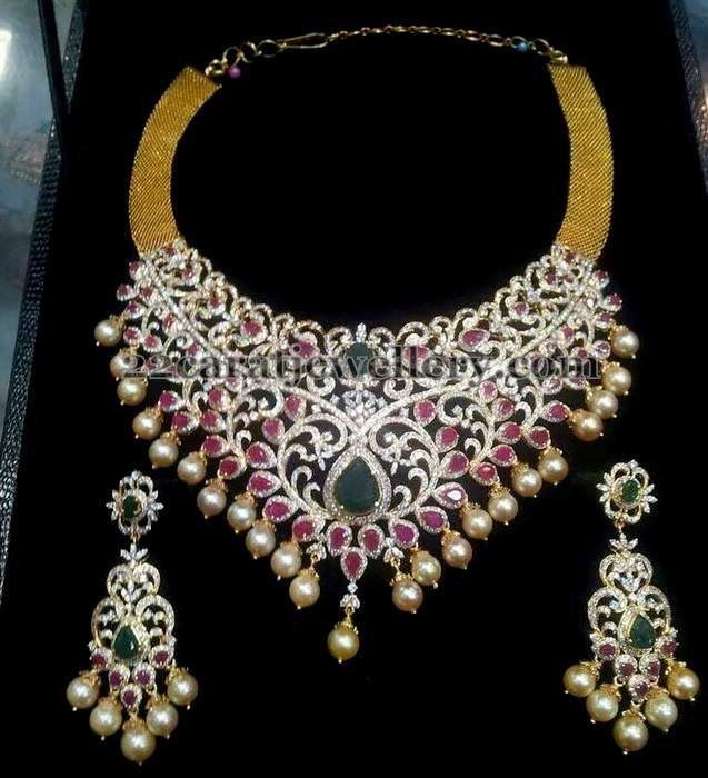 Lavish Diamond Bridal Choker | Jewellery Designs