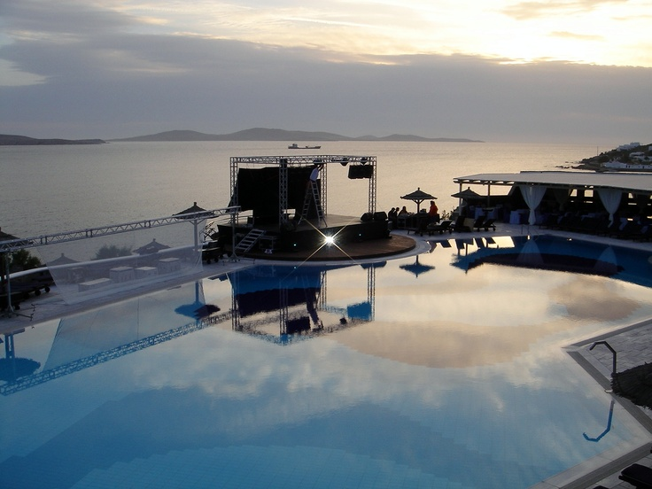 Preparing the stage for a show at Pool area - Mykonos Grand Hotel & Resort