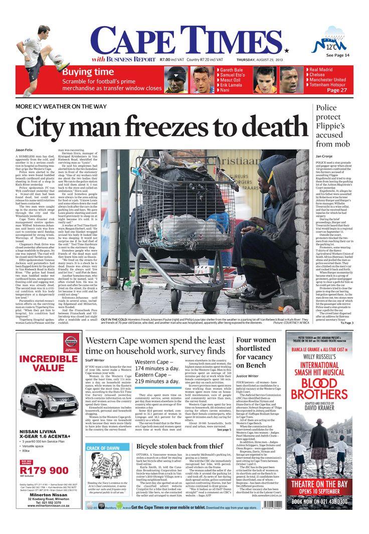 News making headlines: City  man freezes to death