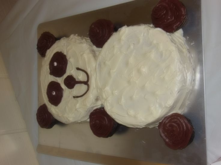 panda bear cake---2 round cakes and cupcakes for the ears, hands and feet.  super easy!!!!