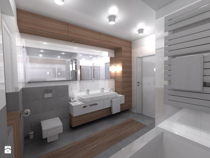 DOM parterowy - Średnia łazienka w bloku bez okna, styl nowoczesny - zdjęcie od Interior Design A3D Architekci Krzysztof Gruszfeld
