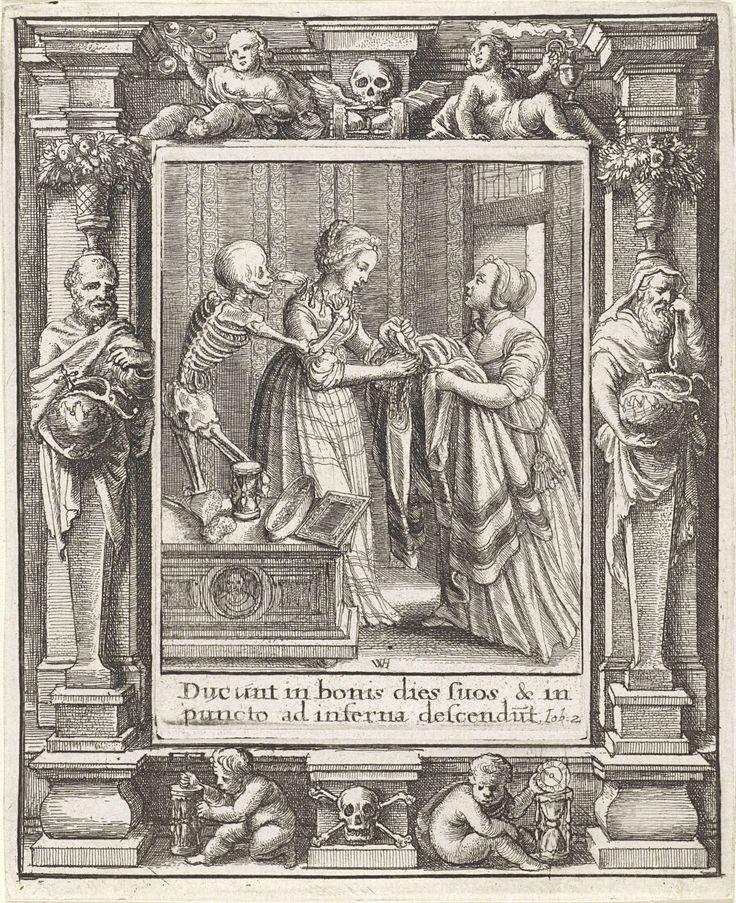 Wenceslaus Hollar | De bruid en de Dood, Wenceslaus Hollar, Abraham van Diepenbeeck, Hans Holbein (II), 1651 | Een bruid trekt haar jurk aan. De Dood doet haar een ketting van botten om. 22ste prent uit een reeks van 30 dodendansprenten; met een omlijsting met Democritus en Heraclitus.