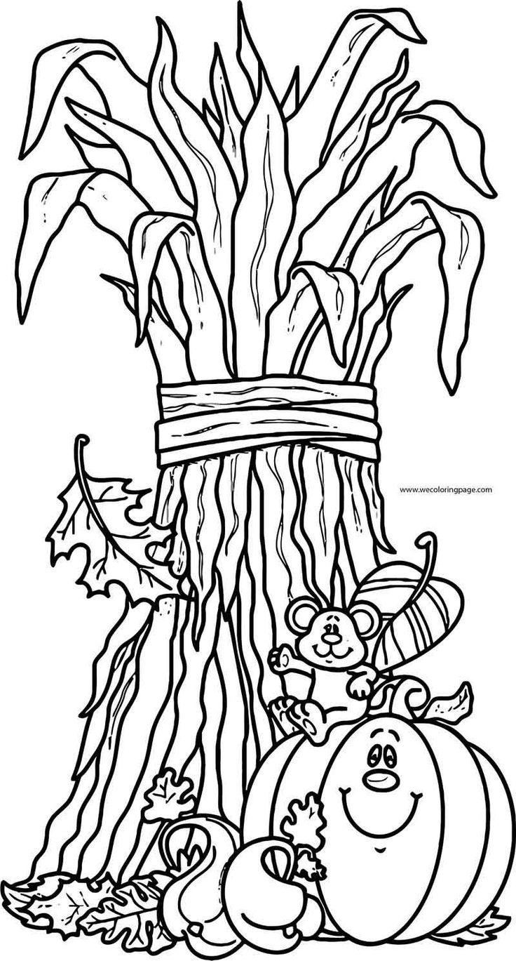 Fall Cartoon Mouse Pumpkin Coloring Page Fall coloring