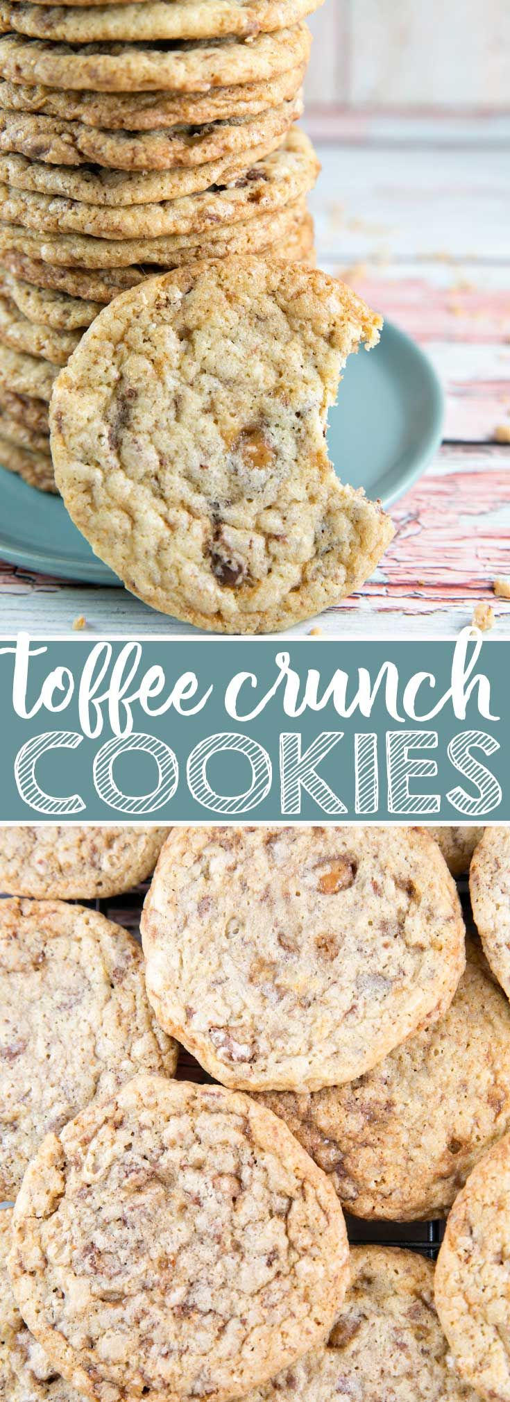Toffee Crunch Cookies: A little sweet, a little salty, a little crispy, a little chewy -- these toffee crunch cookies are all delicious! {Bunsen Burner Bakery} #cookies #toffee #heathbar #christmascookies via @bnsnbrnrbakery