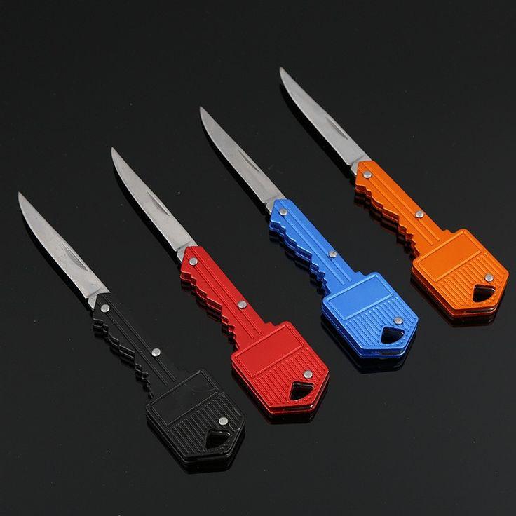 Self Defense Supplies Protable Key Fold Knife Key Pocket Knife Key Chain Knife Peeler Mini Camping Key Ring Knife Tool