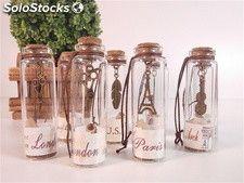 Mini frascos de cristal mensaje en una botella Vintage