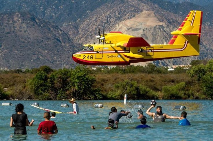 Super Scooper filling up at Santa Fe Dam on the way to fire in Montebello (8/16/15)