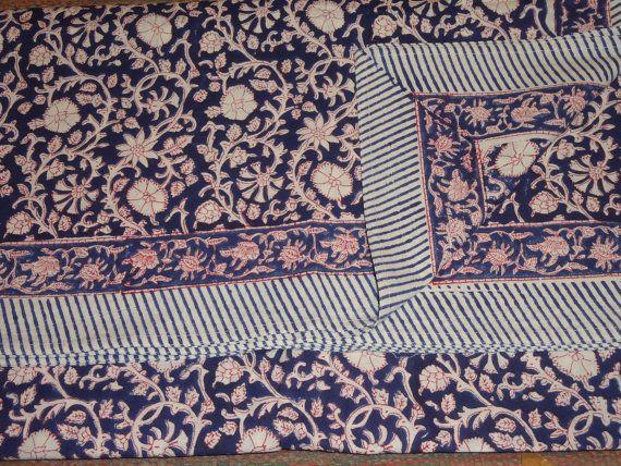 Handmade Bed Sheet Cotton Hand Block Print by jaisalmerhandloom, $39.00