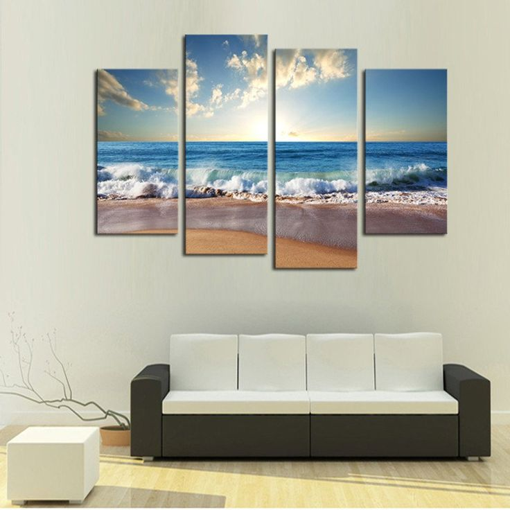 4 Pieces Beach Seascape Modern Wall Painting Home Decorative Art Picture Paint On Canvas s Pictures