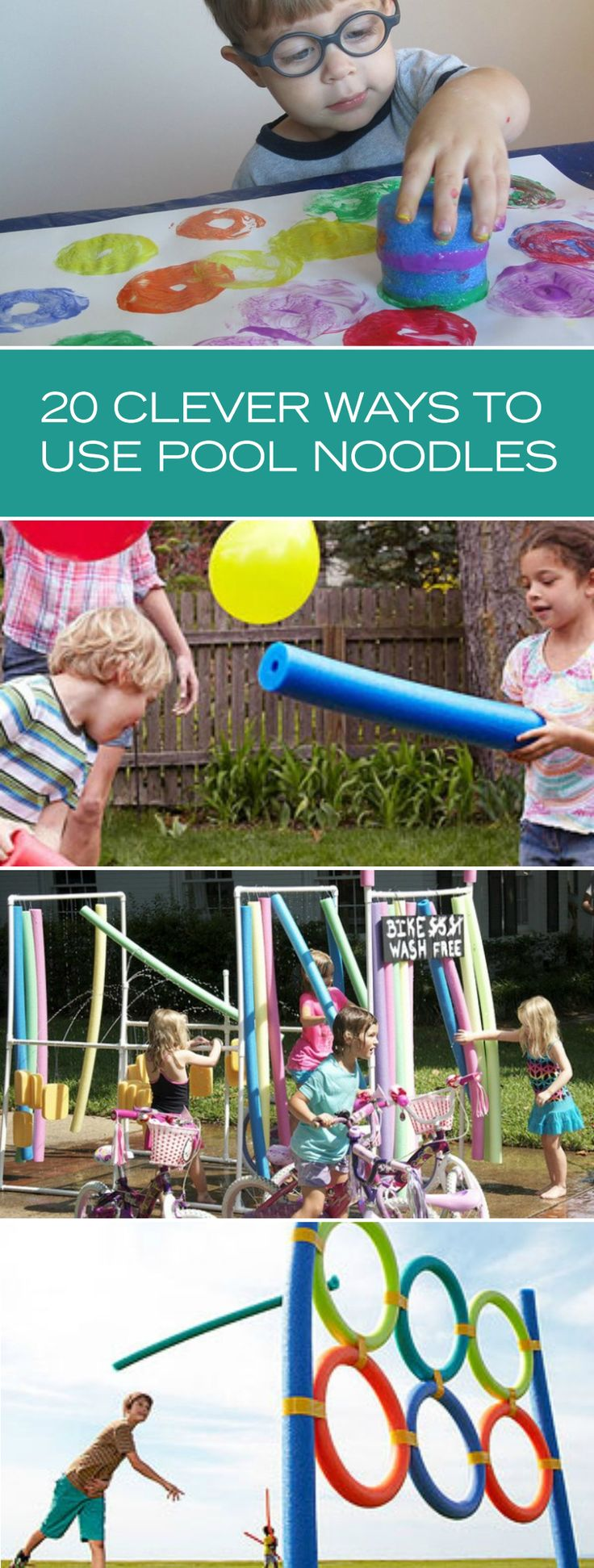 There are so many crafts and games you can make with a classic pool noodle. From obstacle courses to super sprinklers, the DIYs are endless!