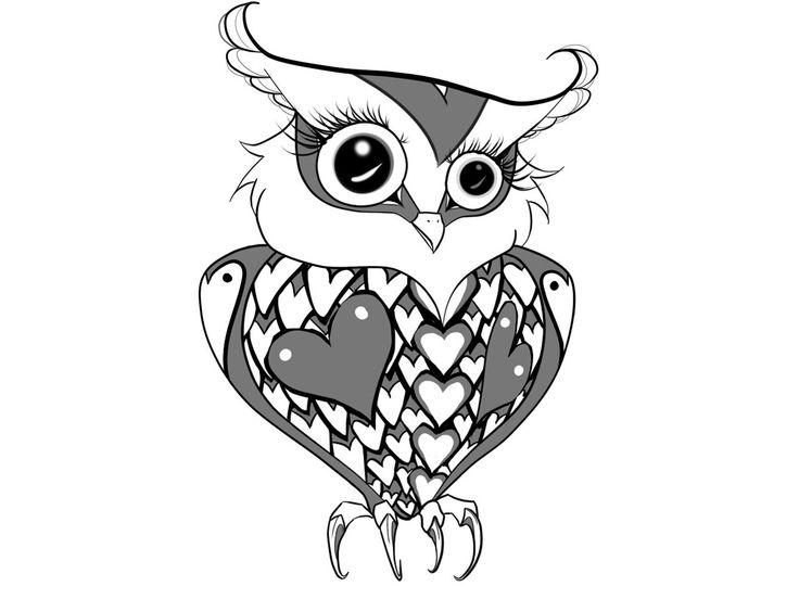 gothic owl drawing | Free designs - Pretty female owl with hearts wallpaper