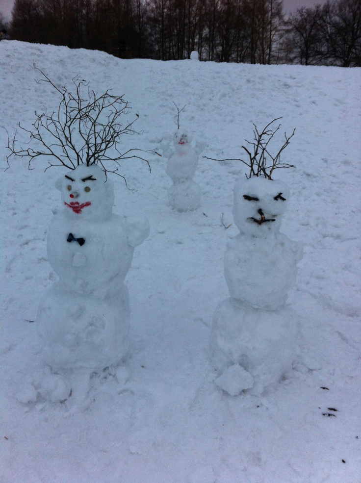 Snow family in Kolomenskoe