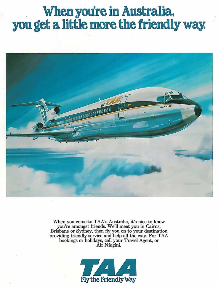 Poster artwork showing a TAA (Trans-Australia Airlines) Boeing 727-276 in-flight, 1970s. #taa #boeing #727 #australia