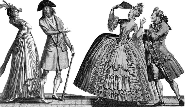 French cartoon showing contrats between fashions of 1793 on the left and those of 1778 on the right