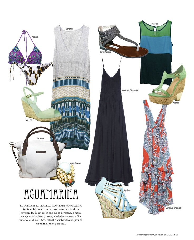 Aguamarina - Revista J #Trends #Fashion #Blue #JockeyPlaza #Summer #dress #Bikini #Wedges
