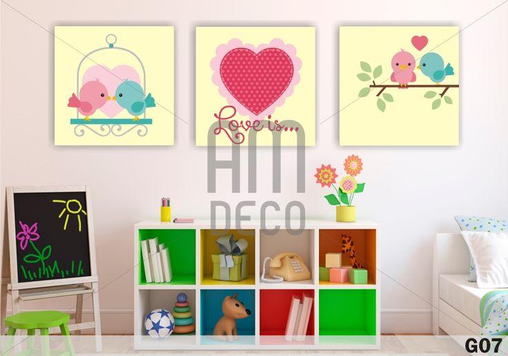Set de 3 cuadros infantiles beb s ni as adolescentes - Cuadros para habitaciones de ninas ...