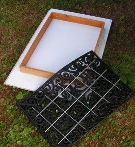DIY Concrete Pavers - Use rubber door mat to create design