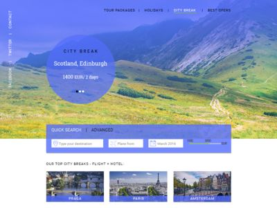Travel Booking Landing Page (indigo and light green palette)