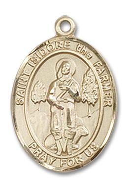 St. Isidore the Farmer Patron Saint Medal (14kt Yellow Gold) (Medium)