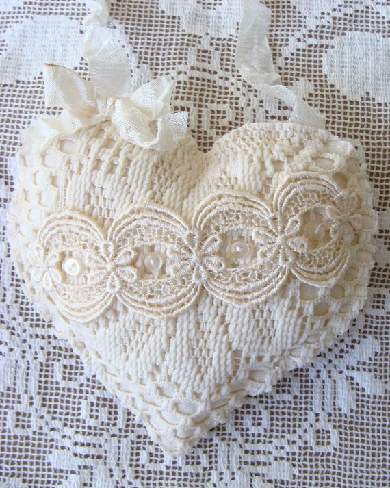 Shabby Fabric Heart Vintage Lace Heart Ornament Stuffed Heart Fabric Hanging Heart Tattered Valentine