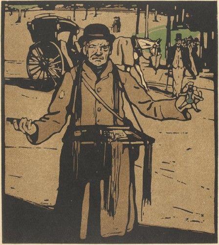 William Nicholson (1872-1949). Hawker (Kensington). #londontypes #lithograph