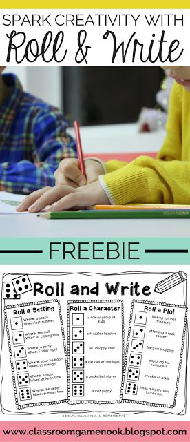 """Do you have reluctant writers?  Are you constantly hearing """"I don't know what to write about?""""  This fun writing prompt game can help spark some creativity (and hilarious stories) with a quick roll of the die!  Grab this freebie today from the Classroom Game Nook"""