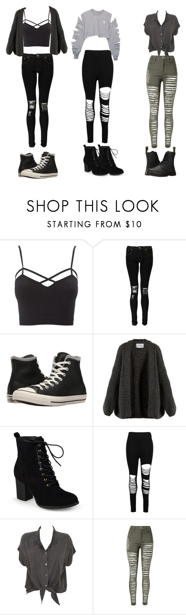 """My mood all the time"" by jennachurch ❤ liked on Polyvore featuring Charlotte Russe, Boohoo, Converse, I Love Mr. Mittens, Journee Collection, Evil Twin, WithChic, Dr. Martens and plus size clothing"