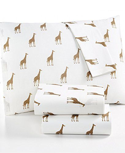 Martha Stewart WHIM Collection Giraffe Novelty Print Cotton Percale Twin XL Sheet Set -- Check this useful article by going to the link at the image. #SheetsPillowcases