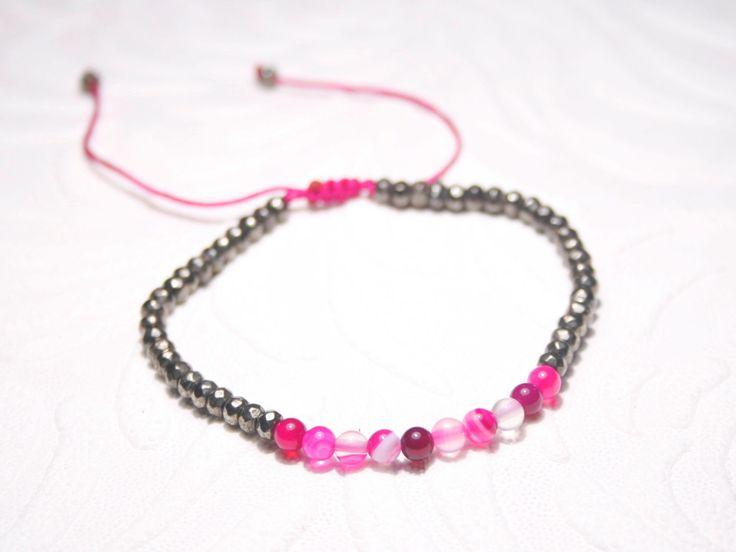 Pyrite Agate bracelet, Fools Gold Bracelet, Boho Beaded Bracelet, Bohochic bracelet, Stacking Bracelet, Bohemian bracelet, Beadwork bracelet by SanguineJewelry on Etsy